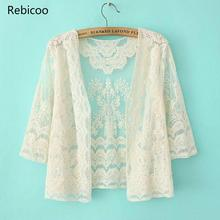 Korean short lace Cardigan small shawl women spring and autumn thin coat in the summer sun protection clothing hot sale! female sun protection clothing fashion blouse korean cardigan seven sleeved women casual thin shirt summer wild shawl tops 2019