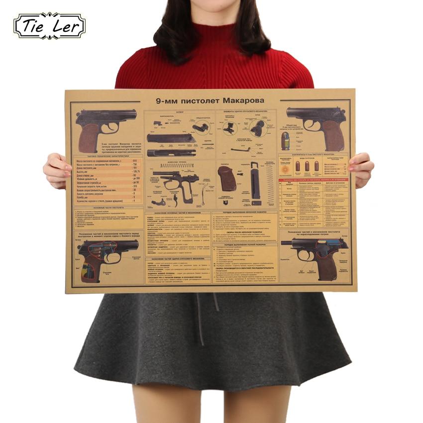 TIE LER 9 MM Pistol Weapon Design Figure Kraft Paper Bar Poster Retro Poster Living Room Stickers Decorative Painting 51x36cm