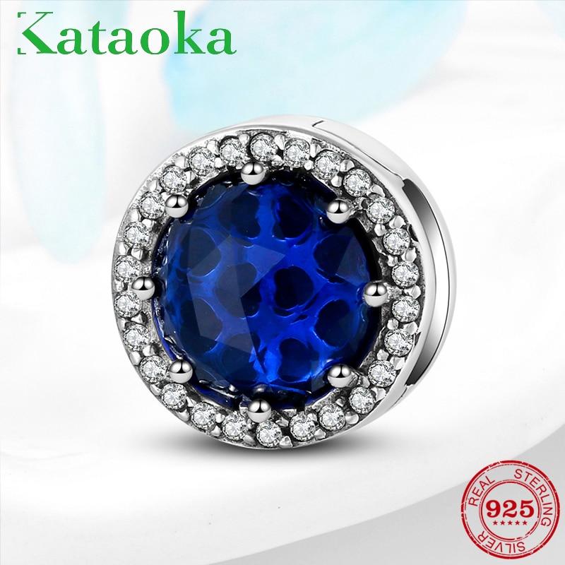 100% 925 Sterling Silver Blue Zircon Clips Beads Fit Original Reflection Bracelet Fine Jewelry Making 2019