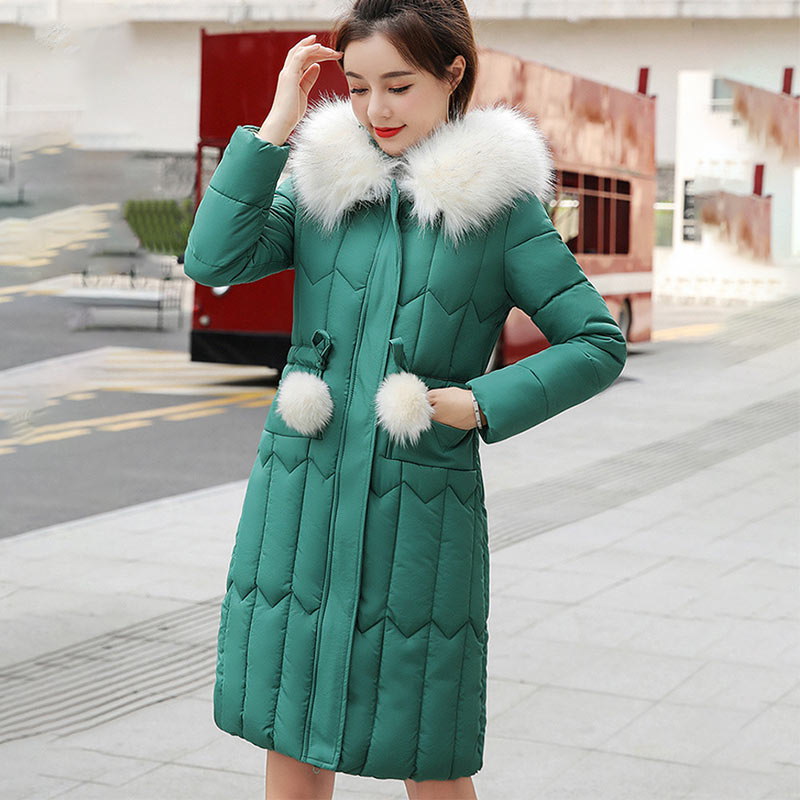 2020 New Fashion Down Coat Women Winter Jacket Long Sections Hooded Parkas Thick Warm Cotton Slim Jacket Women Winter Coat
