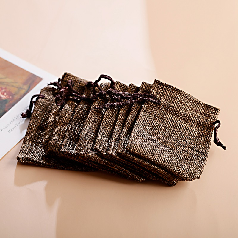 10/20Pcs/lot Drawstring Pouches Packing Natural Burlap Bag Jute Gift Bags Jewelry Packaging Wedding Bags Candy Bag 7X9cm