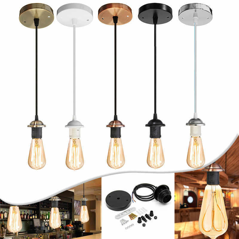 Vintage Edison Lamp Base E27 Screw Ceiling Rose Light Pendant Light Holder E27 Screw Socket Base for Retro Incandescent AC110V