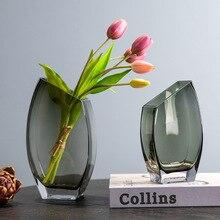 Creative geometric oblique mouth square transparent glass vase Nordic light luxury soft decoration flower arrangement