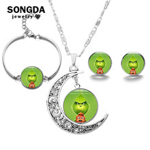 SONGDA How the Grinch Stole Christmas Jewelry Sets The Grinch Movies Poster Cartoon Glass Dome Handmade Jewellery Christmas Gift(China)
