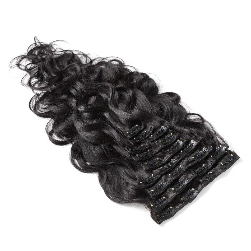 Instaone cheveux 10 pièces/ensemble Clip dans les Extensions de cheveux humains vague de corps couleur naturelle 140G Remy cheveux 14-22 pouces