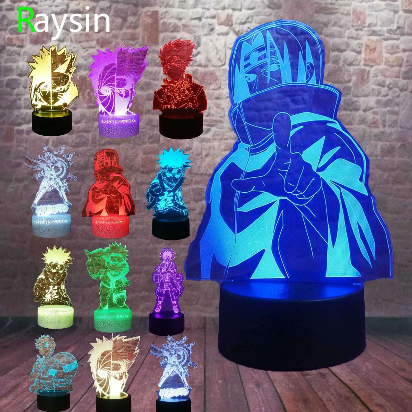 Naruto Kakashi Minato Uchiha Itachi Sasuke Night Light 7 Color Change Led Kids Bedside Action Figure 3D Child Boys Adults Gifts