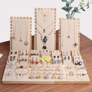Image 2 - High Quality Bamboo Velvet Jewelry Display Earring Display Stand Ear Stud Earrings Holder Rack Storage Case