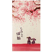 Занавеска в японском стиле 85X150 см Happy Dogs Cherry Blossom