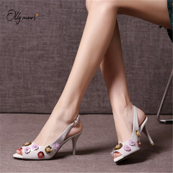 OllyMurs New Spring Summer White Pink Women Sandals Open Toe Buckle Strap Flower Thin High Heel Ladies Sandals Party Shoes Woman