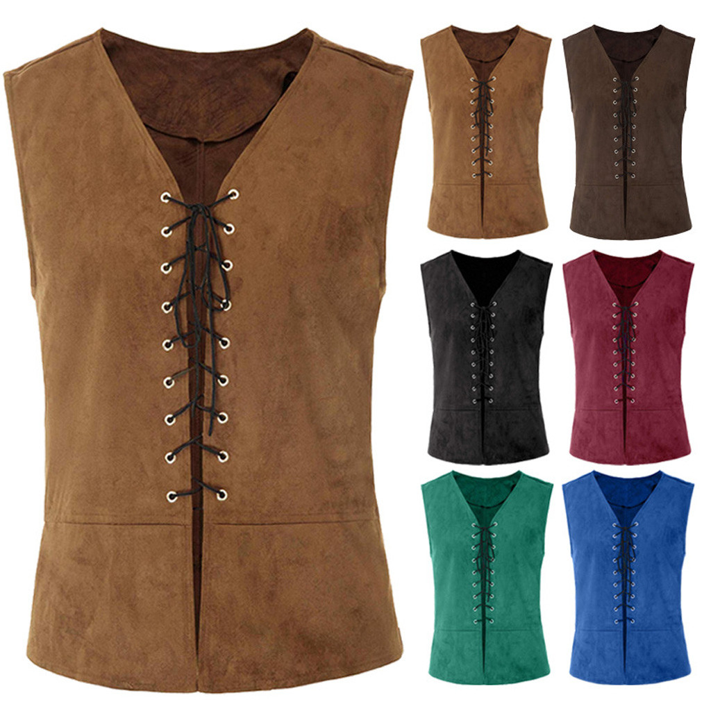 Autumn Winter New Fashion Vintage Medieval Men Vest Laced Up Renaissance Sleeveless Solid Waistcoat Gothic Wholesale Free ShipZ4