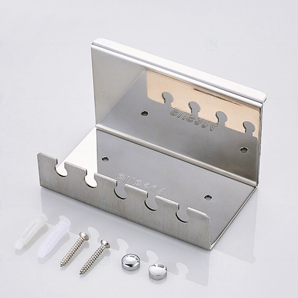 5 Slots Storage Rack Self Adhesive Wall Mount Toothbrush Holder Strong Loading Kitchen Stainless Steel Toilet Supplies Hotel image