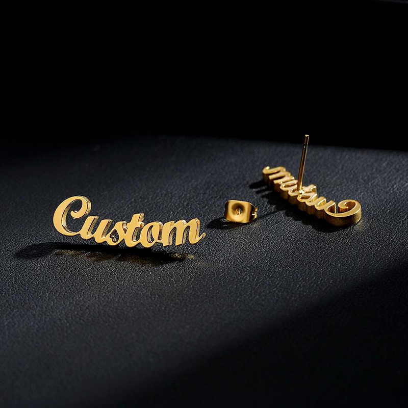 ゴールドステンレス鋼パーソナライズされたカスタム名イヤリング女性のかわいいカスタマイズ出穂初期筆記体銘板スタッドピアス