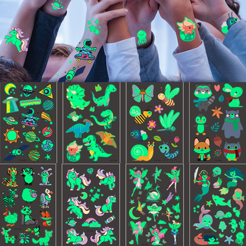 12 pçs luminosa tatuagem adesivos criança temporária unicórnio falso tatuagens definir brilho rosto braço perna para crianças arte do corpo sereia adesivo