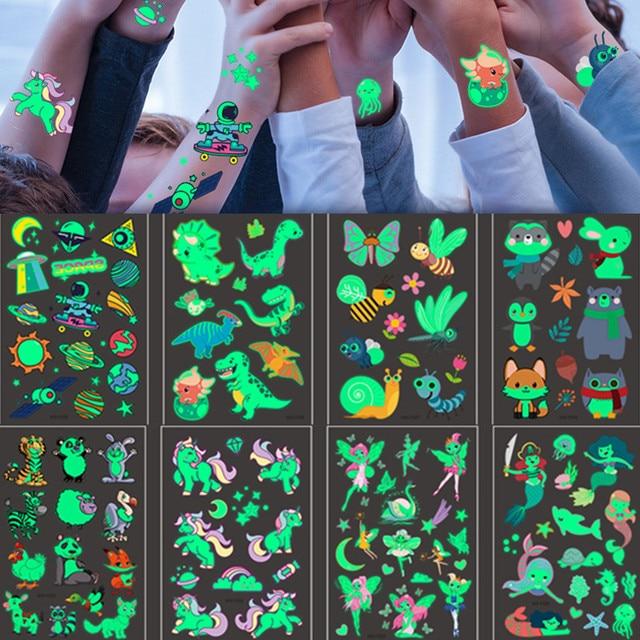 12PCS Luminous Tattoo Stickers Kid Temporary Unicorn Fake Tattoos set Glow Face Arm Leg for Children Body Art Mermaid Sticker