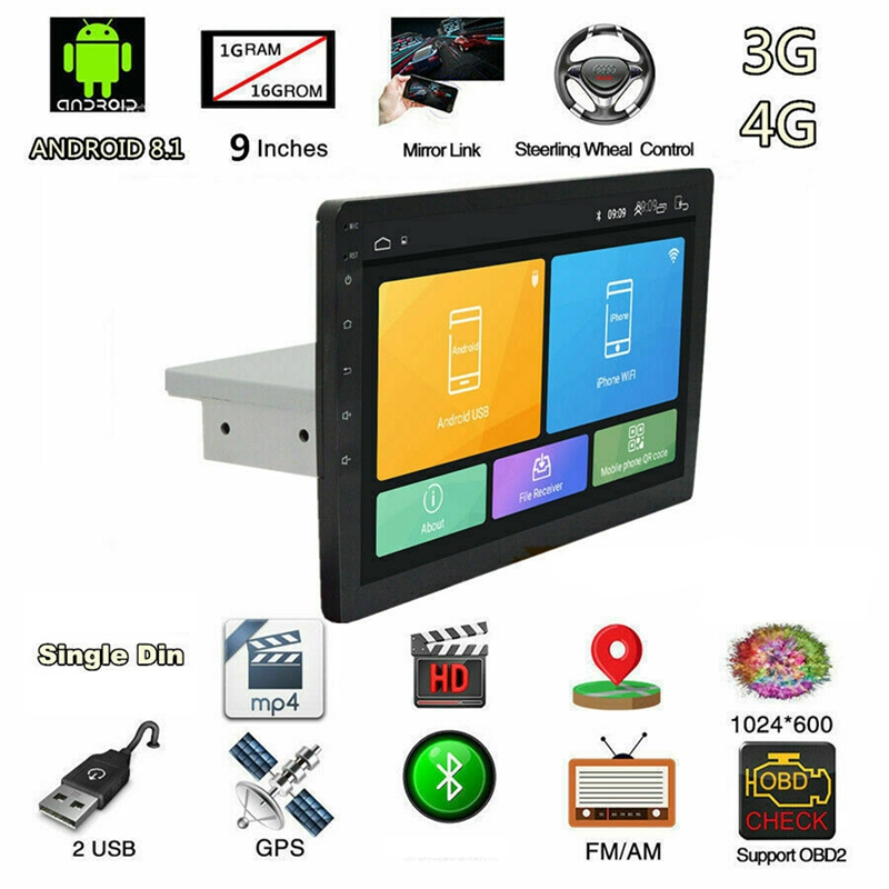 Mp5-Player Navigation Stereo-Radio WIFI Android-8.1 9inch New 16G 1024X600 LCD OBD Car title=