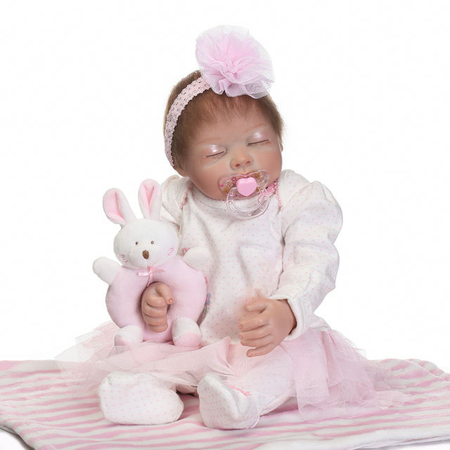 Pink Sleeping Bebe Doll Reborn Baby Soft Silicone Hand Rooted Hair 1