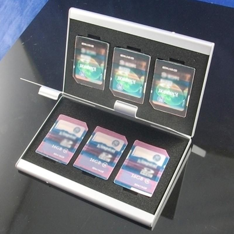 Metal Aluminum Memory Card Protecter Box Holder For 6x SD/SDHC/MMC Memory Cards Storage Case