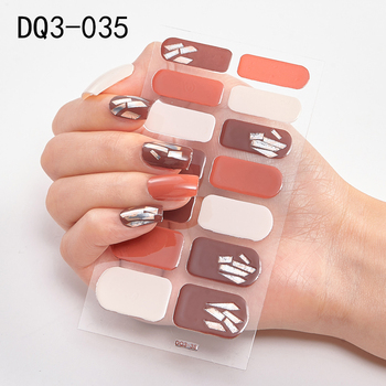 14pcs/sheet Glitter Gradient Color Nail Stickers Nail Wraps Full Cover Nail Polish Sticker DIY Self-Adhesive Nail Art Decoration 51