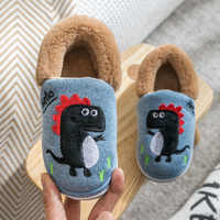 Winter Dinosaur Children's Slippers For Boys Grils Cotton Shoes Soft  Non-slip Kids Home Slippers Baby Warm Cotton Indoor Shoes