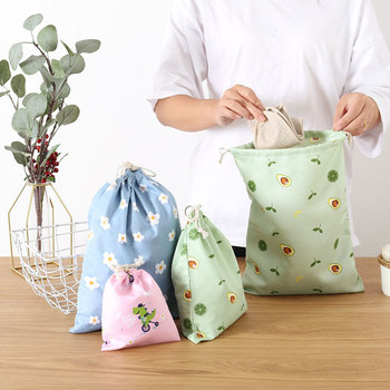 Avocado Flowers Drawstring Shopping Bags Eco Polyester Cotton Shopping Bag Casual Grocery pouch Port