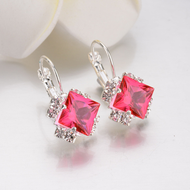 Kpop Crystal Square Stud Earrings for Women Trendy 2020 New Bridal Earrings  Accessories Fashion Christmas Jewelry Girl Gift 3