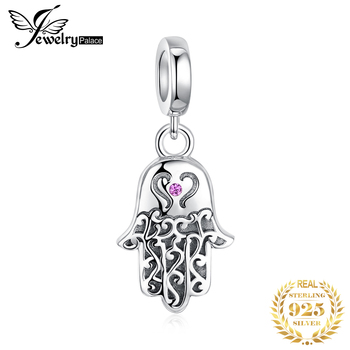 JewelryPalace 925 Sterling Silver Fatima Hand Beads Charms Original For Bracelet original Jewelry Making