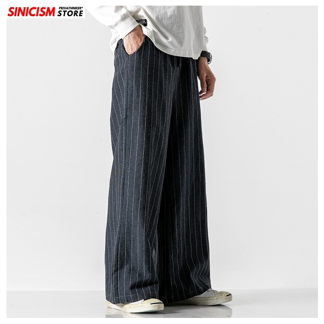 Sinicism Store Men Striped Chinese Style Wide Leg Pants Mens 2020 Japan Style Loose Trousers Male Oversize Vintage Casual Pants 17