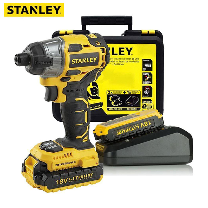 STANLEY Impact Wrench Electric Driver 18V Brushless Wrench Socket 2000mAh Li-ion Battery Hand Drill Installation Power Tools