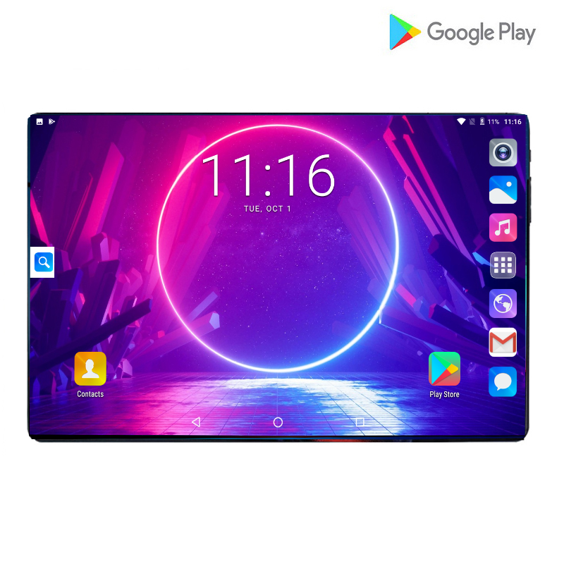 Tempered Glass 10inch Tablet PC Octa Core 6GB RAM 64GB ROM 4G LTE Android 9.0 GPS WiFi Tablet PC 10.1With 64GB Memory Card Gifts