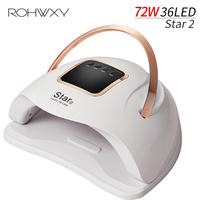 ROHWXY Star2 72W lampa do paznokci Manicure LED suszarka uv do paznokci do suszenia wszystkich żel polski lampa lodu do paznokci narzędzia diy z wyświetlaczem LCD