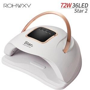 Маникюрный Светодиодный УФ-Сушилка для ногтей ROHWXY Star2, 72 Вт, для сушки всех гель-лаков, ледяная лампа для дизайна ногтей, инструменты для само...