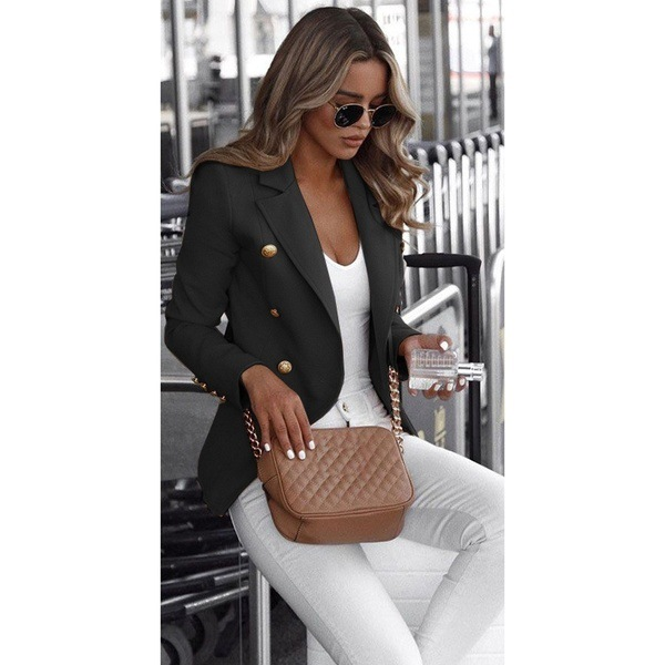 Plus Size Suit Autumn Long-Sleeved Double-Breasted Solid Color Stand-Up Collar Small Suit Abrigos Casual Blazer Women Clothing