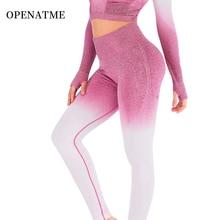 OPENATME High Waist Seamless Multicolor Gradient Hips Leggings Sport Women Fitness Pants Running Yoga