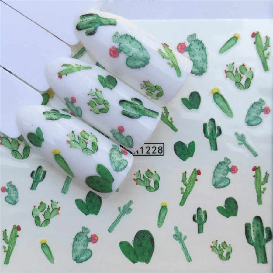 1 Pcs Hot-Selling Cactus Vlezige Plant Fashion Nail Plakken Series Nail Art Water Transfer Stickers Volledige Wraps Tips diy A1228