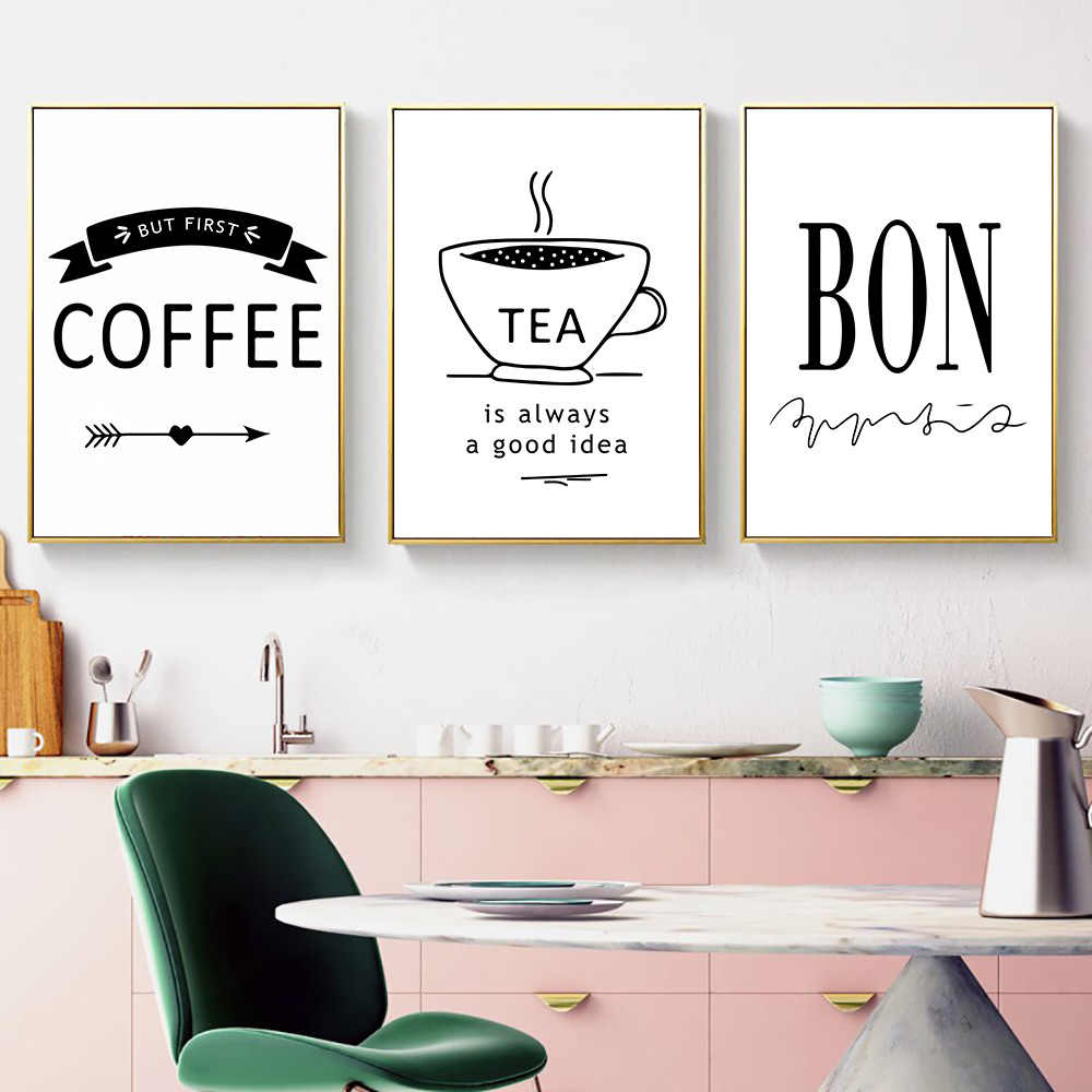 Delicious Food Quotes Nordic Poster Coffee Tea Wall Art Canvas Painting Minimalist Wall Pictures Poster Kitchen Decor Unframed