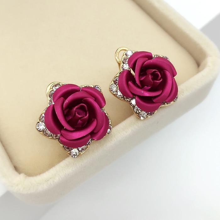 Cercei cu flori din aur roz Culoare floare Roșu Albastru Purpuriu CZ - Bijuterii de moda - Fotografie 4