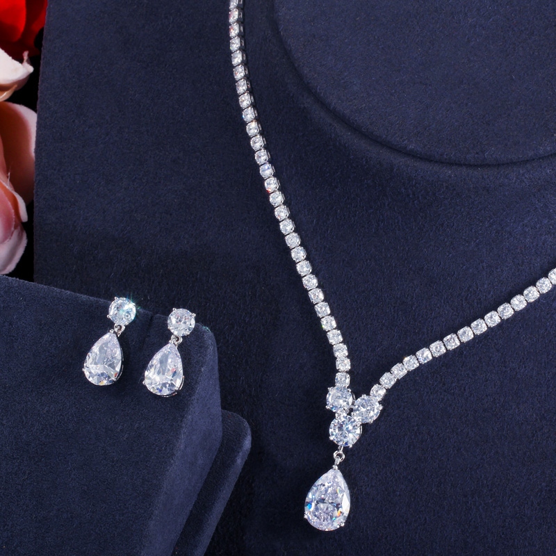 CWWZircons Fashion Cubic Zirconia Water Drop Pendant Necklace and Earrings Bridal Wedding Jewelry Sets for Brides Party T397 2
