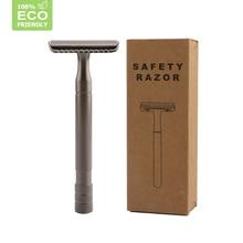 HAWARD Men's Double Edge Safety Razor Classic Colsed Comb Shaving Razor Black/Silver Non-slip Long Handle Manual Razor 10 Blades
