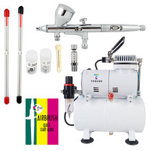 OPHIR Pro 3 Tips Dual Action Airbrush Gravity Paint Gun Kit with Compressor for Body Paint Tattoo Nail Art 110V 220V AC134+070