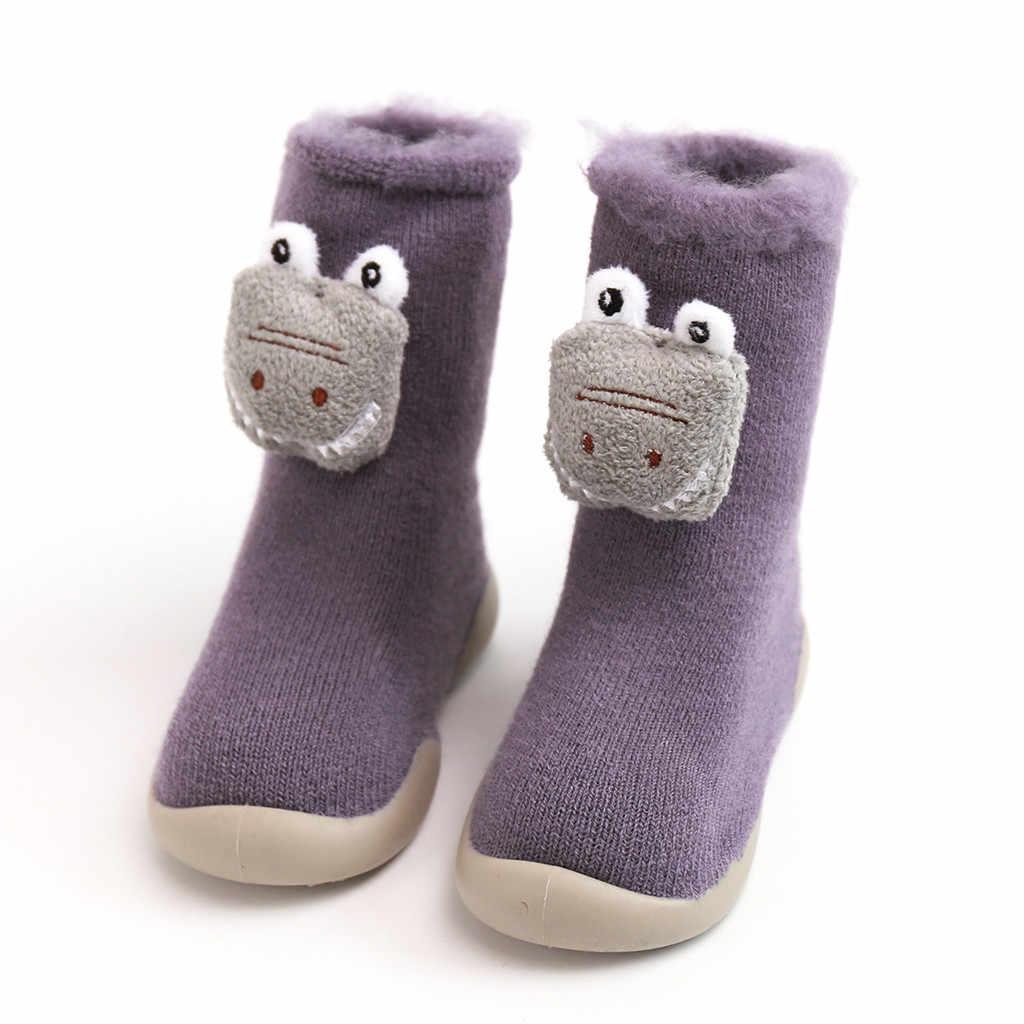 Zapatos de suela suave de goma de punto para bebé niña calcetines zapatillas de primavera invierno suaves para Casa de Niños zapatillas de interior para niños