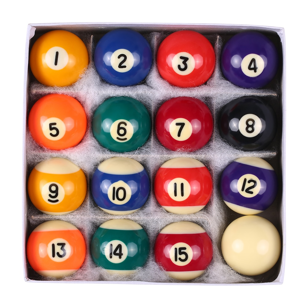 Professional 25MM / 38MM Children Billiards Table Balls Set Resin Small Pool Cue Balls Full Set 16 PCS Mini Billiard Balls Set