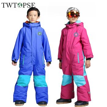 TWTOPSE dzieci narty Snowboard garnitur kombinezon jeden kawałek śnieg garnitur odzież zimowa dla dzieci dziewczyna chłopak na zewnątrz izolowane spodnie kurtka zestaw tanie i dobre opinie Pasuje na mniejsze stopy niezwykle Proszę sprawdzić informacje o rozmiarach ze sklepu Chłopcy Kids Skiing Suit Coverall One Piece Snow Suit