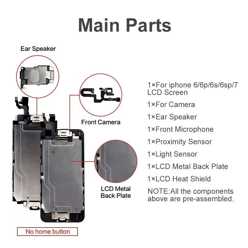 Image 2 - Класс AAA + + + экран для iPhone 6 6S Plus ЖК дигитайзер полная сборка для iPhone 7 дисплей для Apple с камерой ушной динамикЭкраны для мобильных телефонов   -