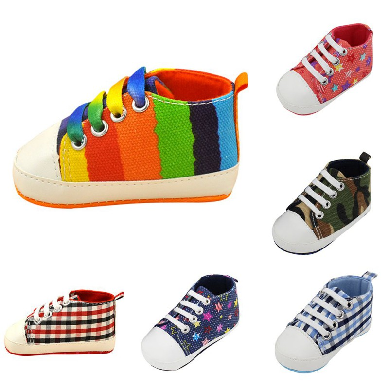2019 New 12 Colors Newborn Baby Shoes Boy Girl Soft Anti-Slip  Color Striped First Walkers Canvas Shoes Infant Toddler Shoes