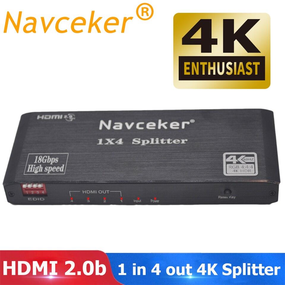 2019 лучший HDMI сплиттер 1x2 HDMI 2,0 сплиттер 4K HDMI видео аудио сплиттер Поддержка CEC HDR 4K 60 Гц разветвитель HDMI 1x4 для ноутбука