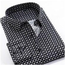 Large Size 8XL 9XL 10XL VROKINO Brand 2021 Vintage Floral Print Long Sleeves Men's Business Casual Dress Fashion Classic Shirt