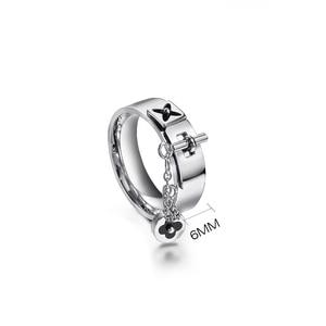 Image 2 - Baoyan Fashion Clover Flower Ring Love Gothic Promise Wedding Engagement Ring Gold/Sliver Stainless Steel Finger Rings For Women