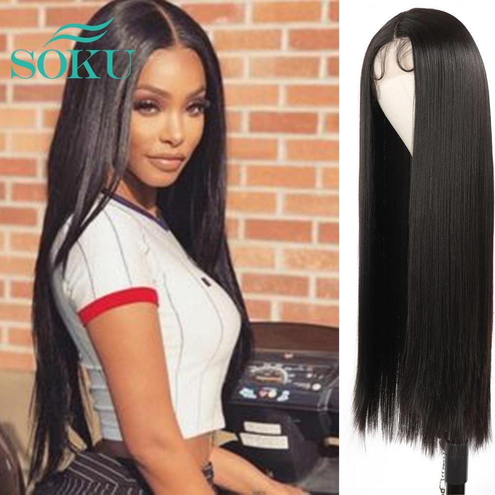 Soku parte do meio longo sintético em linha reta preto cor natural rendas frente orelha a orelha peruca para cabelo de fibra resistente ao calor preto feminino