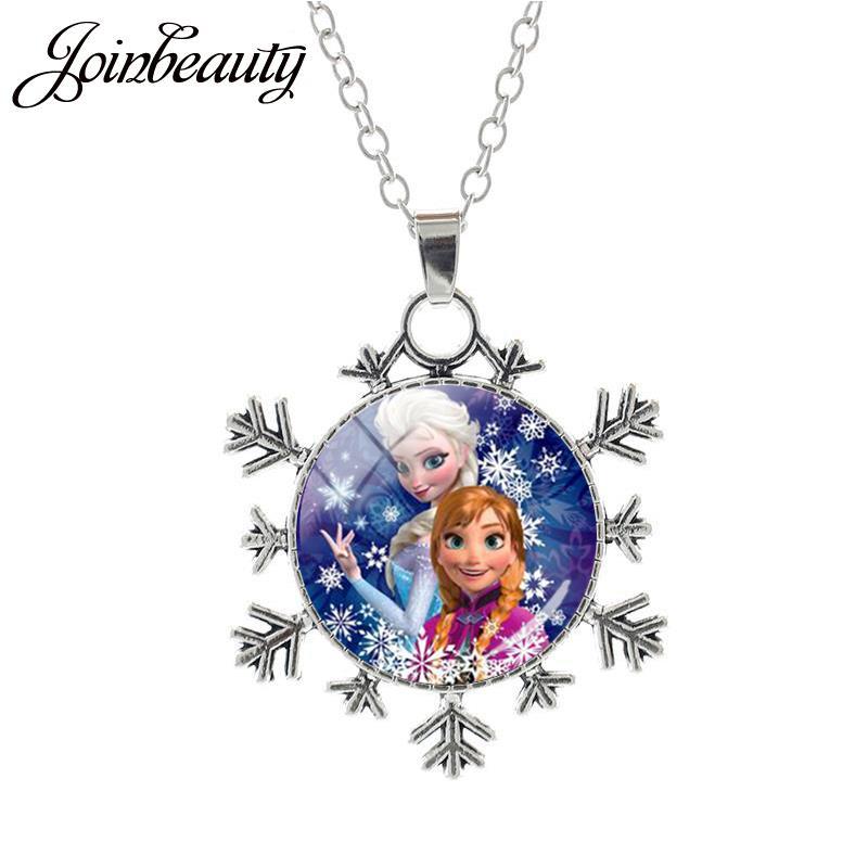 JOINBEAUTY Принцесса Эльза Анна снег кулон в виде королевы Ожерелье Дамы Снежинка Длинная цепочка Ювелирные изделия стекло кабошон для девочек SQ03 - Окраска металла: SQ01-25