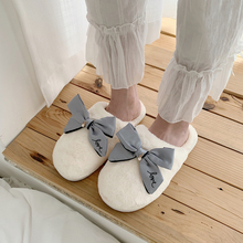 Women's Winter Home Slippers With Bow Indoor Shoes Faux Fur Furry Slippers For Girls Soft Hairy Slides Bedroom Slipper Shoes